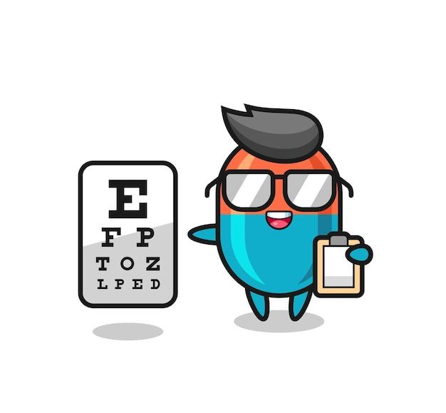 Illustrazione della mascotte della capsula come oftalmologia, design in stile carino per maglietta, adesivo, elemento logo