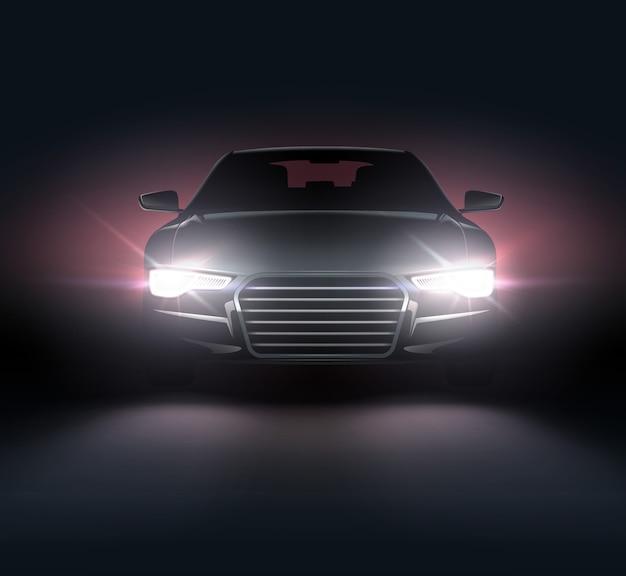 Illustrazione della composizione realistica delle luci dell'auto del paesaggio notturno