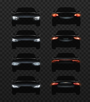 Illustrazione delle luci per auto set di fari realistici