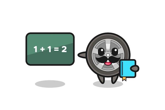 Illustrazione del personaggio della ruota dell'auto come insegnante, design in stile carino per maglietta, adesivo, elemento logo