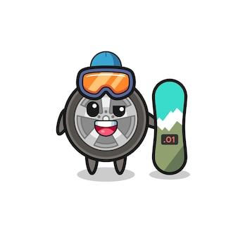 Illustrazione del personaggio della ruota dell'auto con stile snowboard, design in stile carino per t-shirt, adesivo, elemento logo