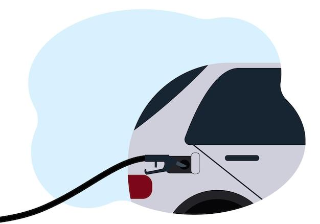 Illustrazione di un'auto con un tubo flessibile nel serbatoio del gas