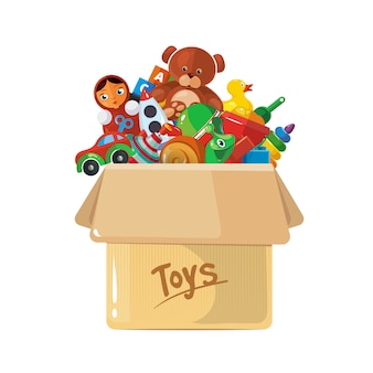 Illustrazione della scatola di cartone per giocattoli per bambini.