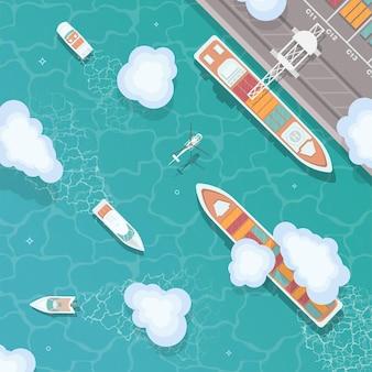 Illustrazione di un porto mercantile in vista dall'alto in stile piatto