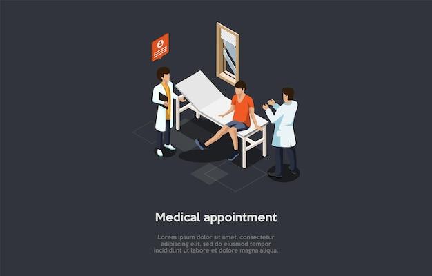 Illustrazione in stile cartoon 3d. appuntamento medico con medico concept design.