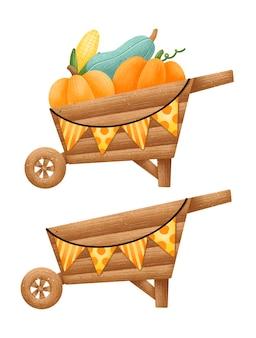 Illustrazione di un insieme di carriola del raccolto di autunno del fumetto