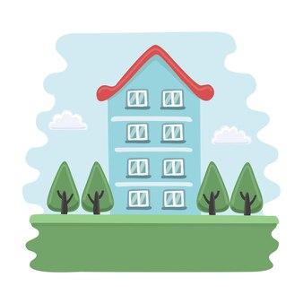 Illustrazione della casa blu del fumetto