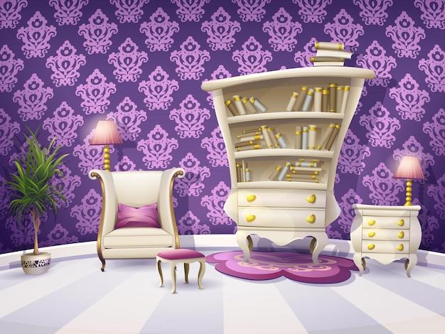 Illustrazione di un armadietto del libro del fumetto con mobili bianchi