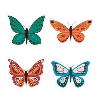 Illustrazione di farfalle di cartone animato isolato su sfondo bianco. farfalle astratte, insetti volanti colorati.