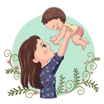 Illustrazione della madre e del bambino del personaggio dei cartoni animati