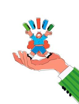 Illustrazione di un personaggio dei cartoni animati con libri o scatole.