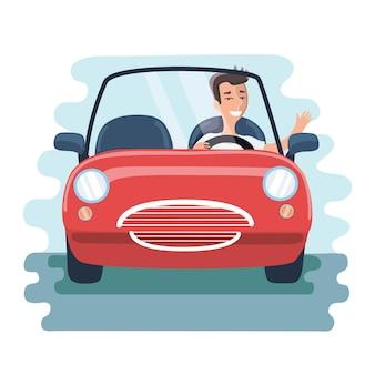 Illustrazione del giovane chereful del fumetto che guida automobile rossa sulla strada