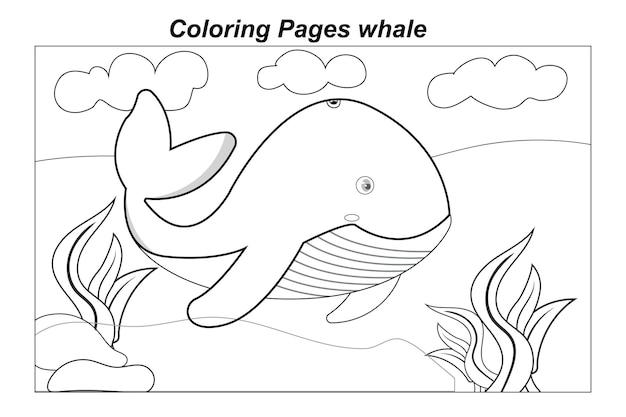 Illustrazione in un cartone animato disegni da colorare animali selvatici marini piccolo simpatico delfino sott'acqua