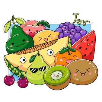 Illustrazione della frutta di doodle del fumetto