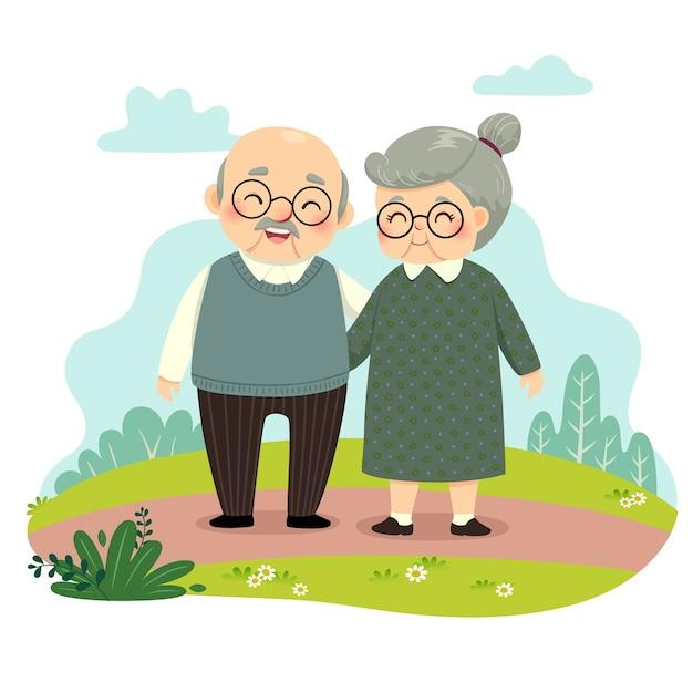 Illustrazione fumetto di coppia di anziani in piedi e mano nella mano nel parco. felice giorno dei nonni concetto.