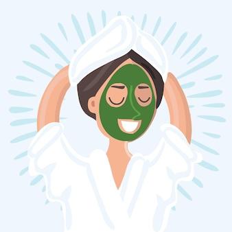 Illustrazione del volto di cartone animato di una bella donna con maschera cosmetica nel salone spa
