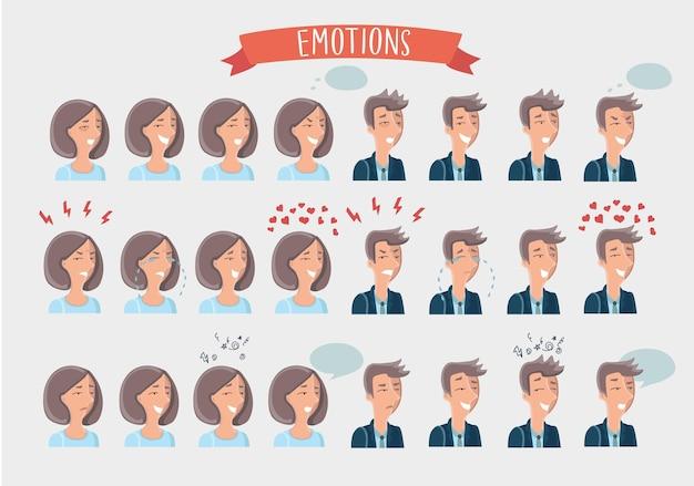 Illustrazione dei volti dei cartoni animati di donna e uomo con diverse espressioni facciali impostate