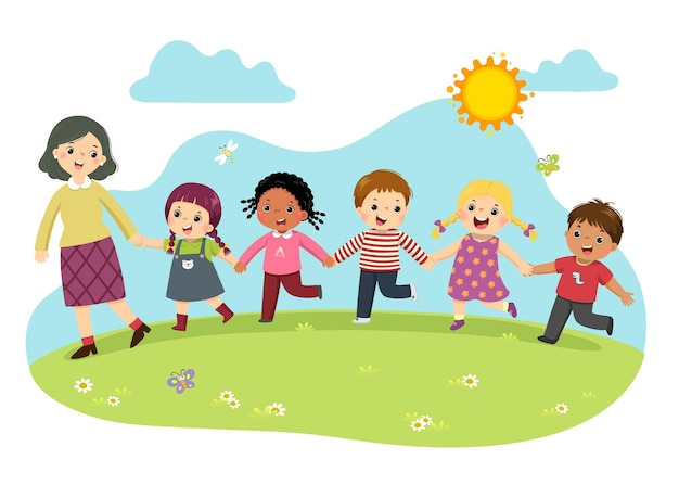 Illustrazione fumetto di insegnante femminile e studenti si tengono per mano insieme e camminano nel parco.