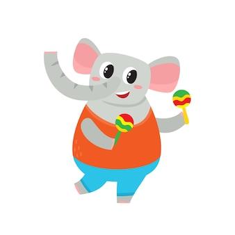 Illustrazione di elefante divertente cartone animato isolato su sfondo bianco. animale carino e divertente, personaggio di elefante con maracas