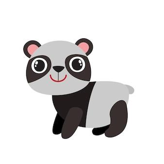 Illustrazione del panda divertente del fumetto isolato su priorità bassa bianca. animale carino e divertente, carattere dell'orso