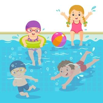Illustrazione fumetto di bambini felici che nuotano in piscina.