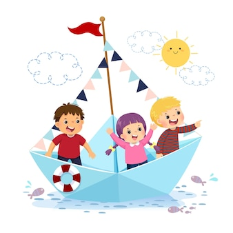Illustrazione fumetto di bambini felici che galleggiano su una barchetta di carta sull'acqua.