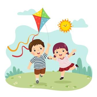 Fumetto illustrazione di un ragazzino e una ragazza che volano l'aquilone. fratelli che giocano insieme.