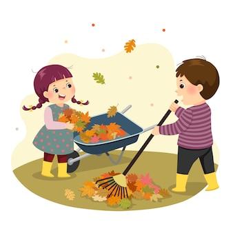 Illustrazione fumetto di un ragazzino e una ragazza rastrellando le foglie. bambini che fanno le faccende domestiche a casa concetto.