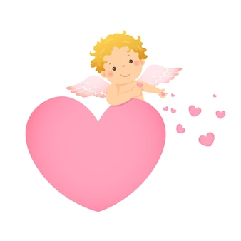Illustrazione fumetto di piccolo cupido dietro a forma di cuore rosa.
