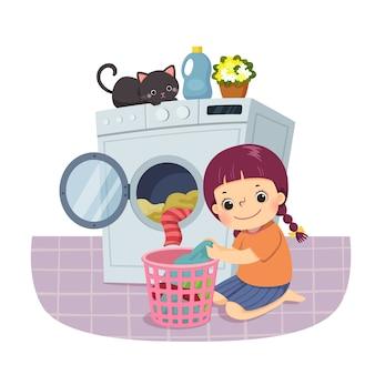Fumetto illustrazione di una bambina che fa il bucato. bambini che fanno le faccende domestiche a casa concetto.