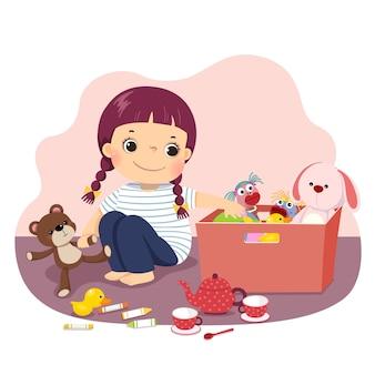Fumetto illustrazione di una bambina che mette i suoi giocattoli nella scatola. bambini che fanno le faccende domestiche a casa concetto.