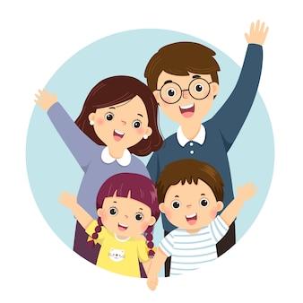 Cartone animato di illustrazione di un ritratto di quattro membri famiglia felice alzando le mani. genitori con figli.