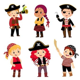 Illustrazione serie di cartoni animati di ragazzi carini vestiti con costumi da pirata.