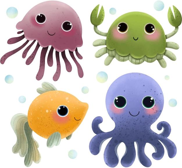 Illustrazione del set di cartoni animati di vita marina