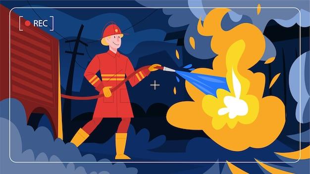Illustrazione in stile cartone animato di vigile del fuoco coraggioso firhting con la fiamma.