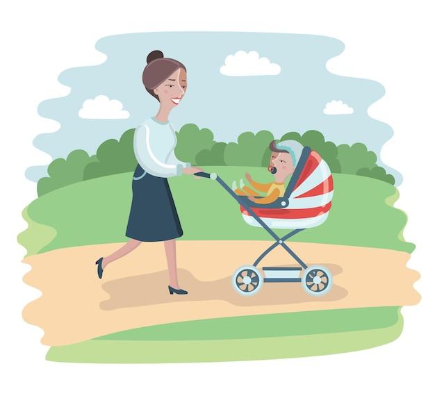 Illustrazione della donna del fumetto che cammina nel parco con il bambino