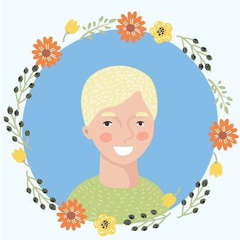 Illustrazione di cartone animato giovane donna faccia icona