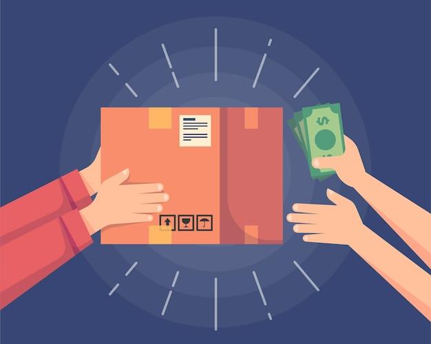 Illustrazione del concetto di pagamento in contrassegno