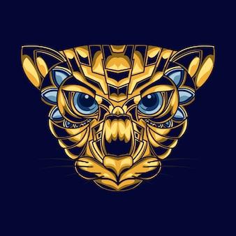 Illustrazione della testa di un gatto con combinazione di colori oro e blu