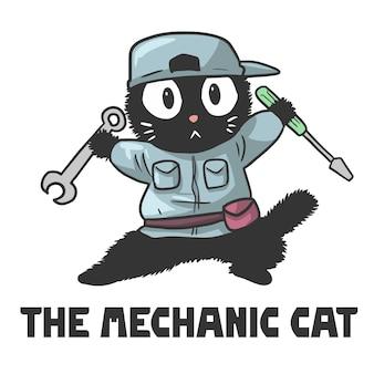 Illustrazione di un gatto che è un meccanico, un simpatico cartone animato divertente