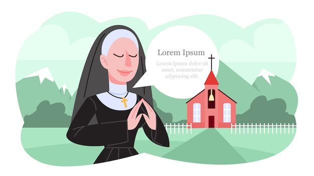 Illustrazione della suora cattolica che prega in abiti neri tradizionali.