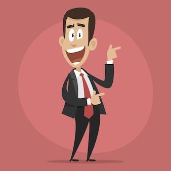 Illustrazione, personaggio uomo d'affari felice punta verso, formato eps 10