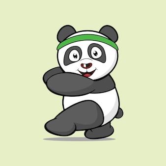 Panda divertente del fumetto del carattere dell'illustrazione che cammina sul vettore grafico di progettazione del segnale stradale