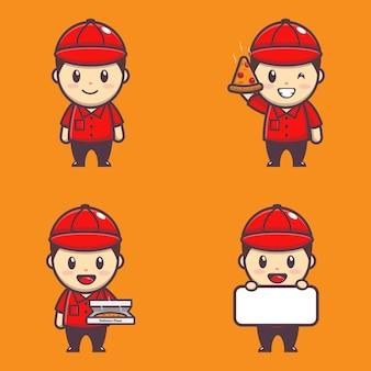 Carattere dell'illustrazione del ragazzo carino che consegna la pizza