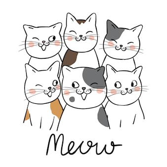 Il gatto sveglio di progettazione del carattere di illustrazione del carattere e la parola miagolano lo stile di scarabocchio