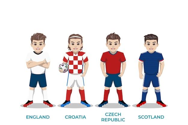 Illustrazione del personaggio del giocatore di football per il campionato europeo