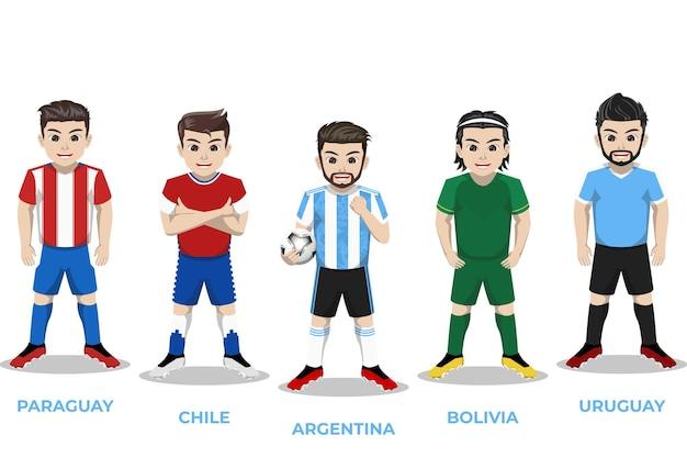 Illustrazione del personaggio del giocatore di football per il campionato sudamericano
