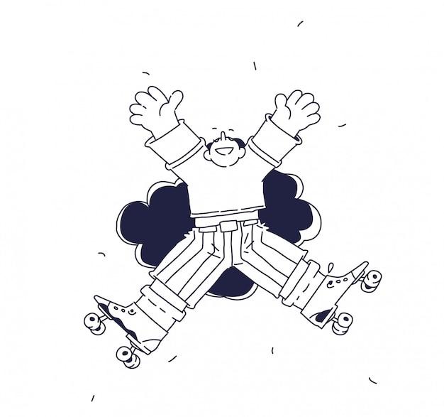 Illustrazione di un personaggio allegro sui pattini a rotelle