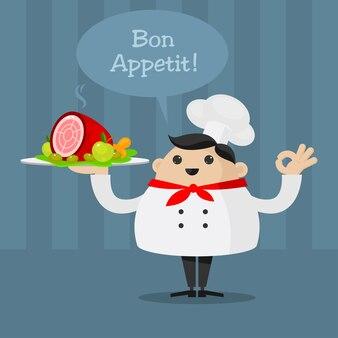 Illustrazione allegro chef che tiene piatto, formato eps 10