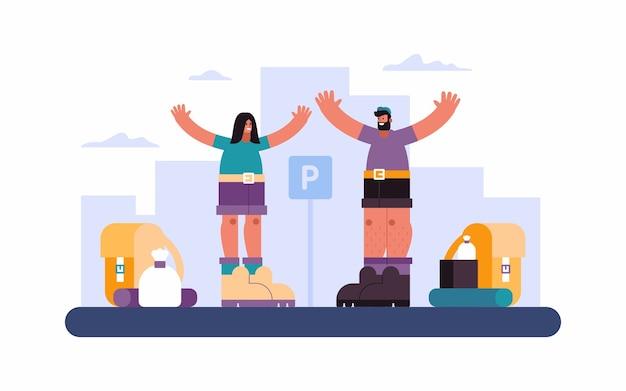 Illustrazione di allegro uomo e donna con le braccia alzate in piedi vicino a attrezzi sul parcheggio in città prima del viaggio